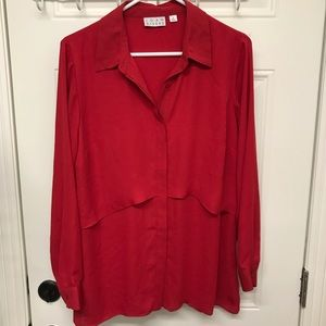 Tops - Red silk button blouse